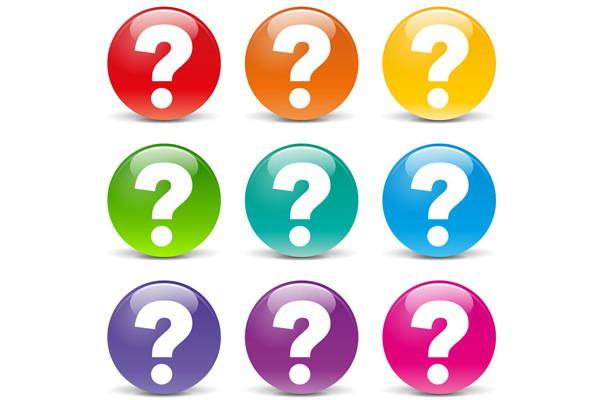 points d'interrogation de couleur