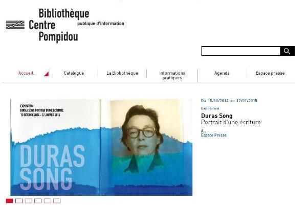 Page d'accueil site Bpi (M. Duras)