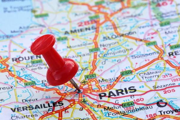 Carte Ile de France épinglée