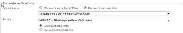 Critères de recherche (capture d'écran)