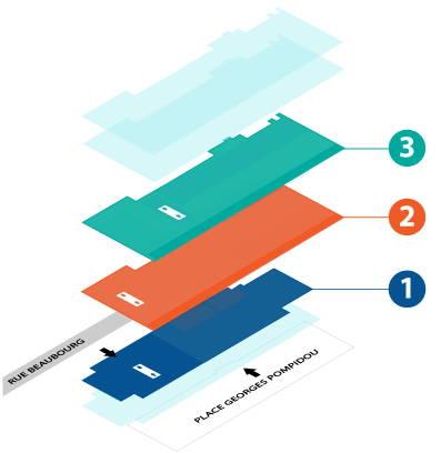 Plan de la Bpi, Trois étages