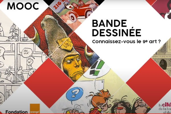 écran d'un cours en ligne de bande dessinée