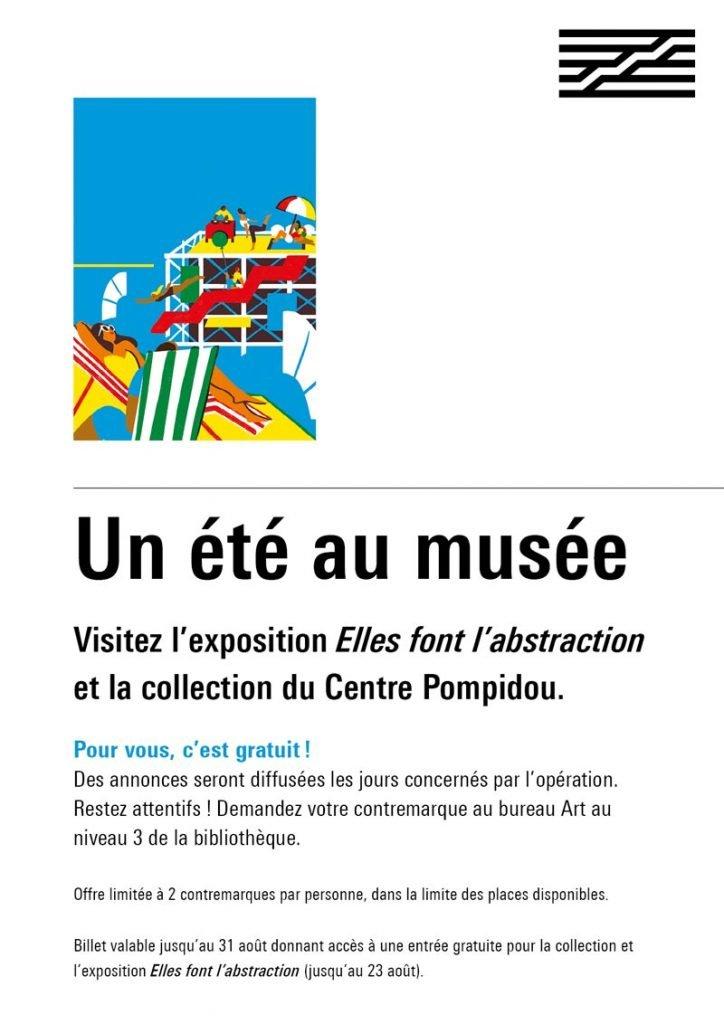 affiche de l'opération Un été au musée en partenariat avec le Centre Pompidou.