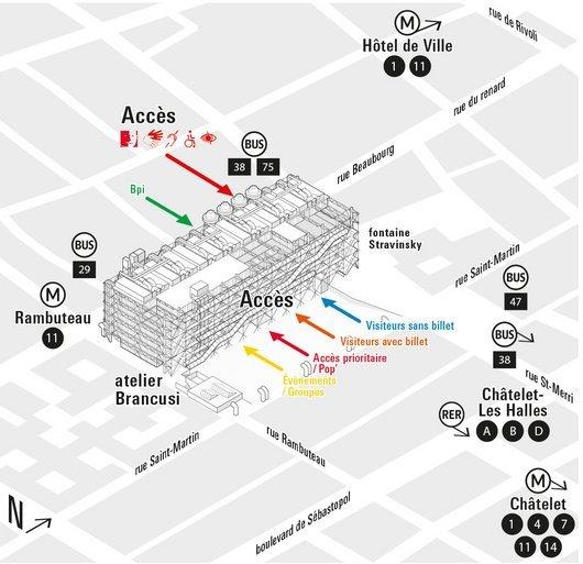 plan des différents accès du Centre Pompidou et de la Bpi.