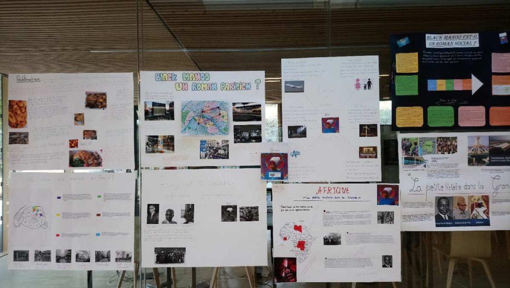 tableau de travail des lycéens participants aux ateliers de la Bpi
