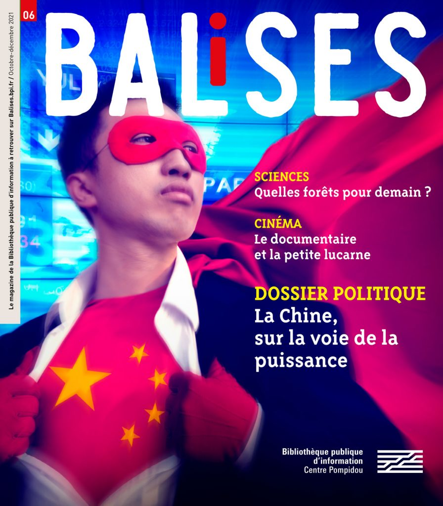 Couverture de Balises 6 sur la diplomatie chinoise montrant un jeune Chinois en costume de superhéros