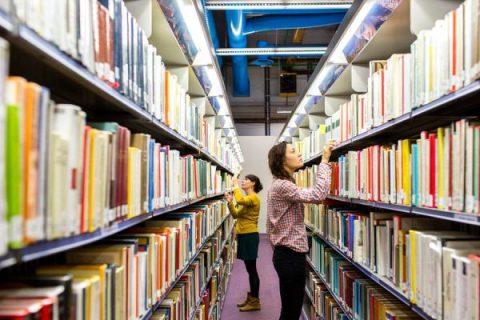 Rayonnages de la Bpi avec livres