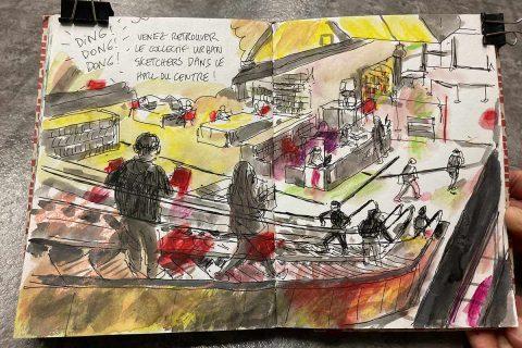 dessin des escalators de la Bpi par Urban Sketchers.