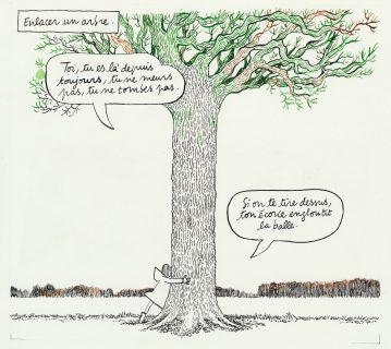Catherine Meurisse enlace un arbre