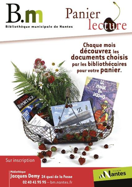 Affiche panier lecture, ville de Nantes