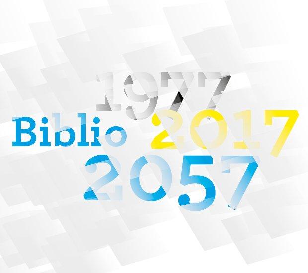 Logo des deux journées d'études BIBLIO 2057. Les dates 1977, 2017 et 2057 y apparaissent en se chevauchant.