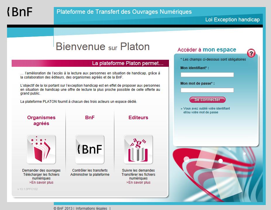 Capture d'écran de la page d'accueil de Platon