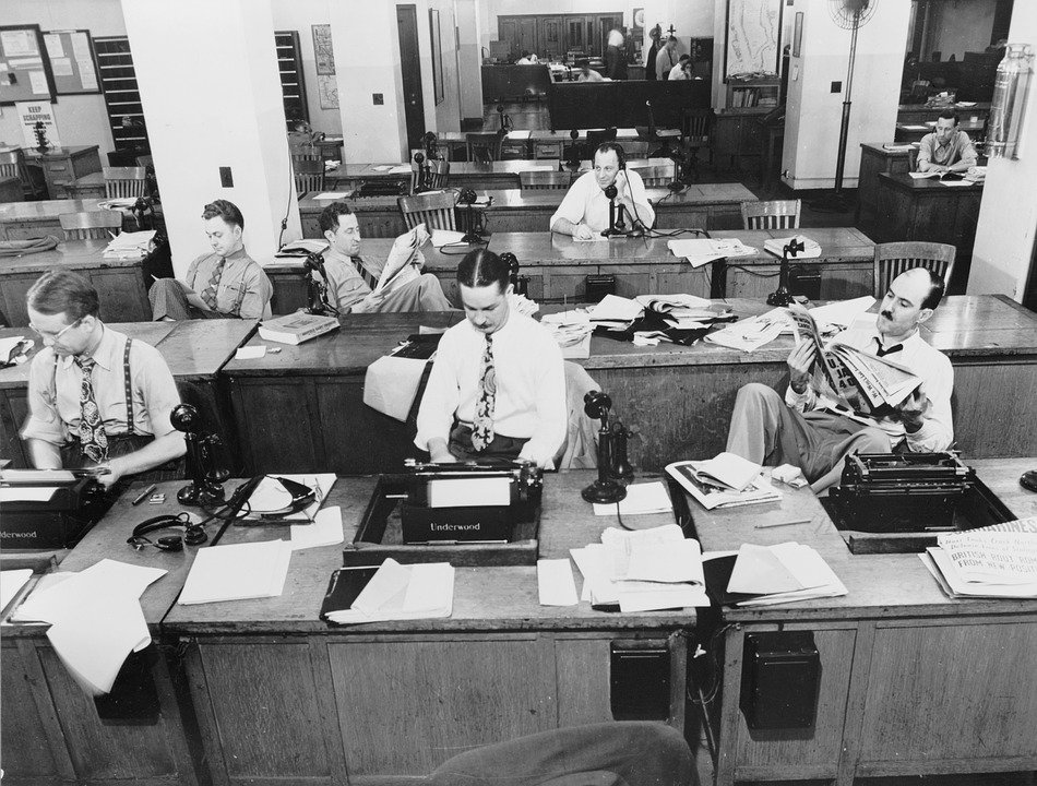 salle de presse années 50
