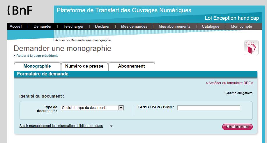 copie d'écran de la plateforme de transfert des ouvrages numériques