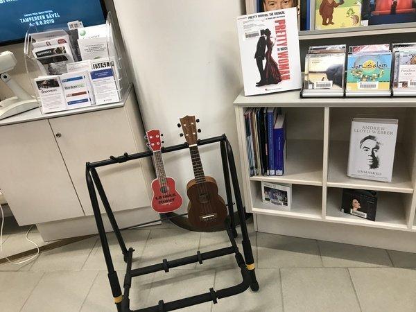 photographie d'une guitare et d'un ukulélé en prêt