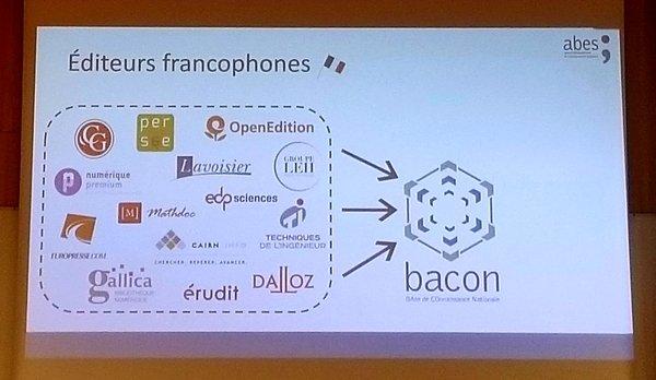 Photographie du support de présentation avec le groupe d'éditeurs francophones en lien avec bacon