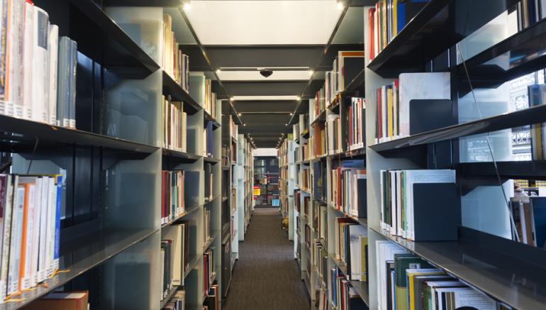 photographie des rayonnages de la bibliothèque de l'IMA