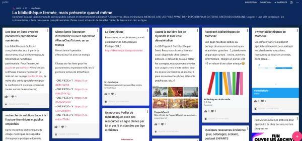 Capture d'écran du tableau virtuel de l'ABF en ligne