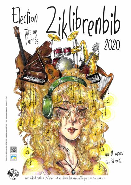 Affiche de l'élection Zikenlibrebib 2020 représentant une femme écoutant de la musique au casque, le visage surmonté d'instruments de musique
