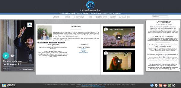 Page d'accueil de la plateforme d'écoute de musique Gironde Music box