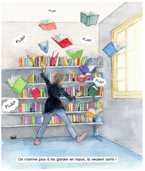 Dessin d'une bibliothèque dont certains livres s'envolent et qu'une femme essaie de rattraper