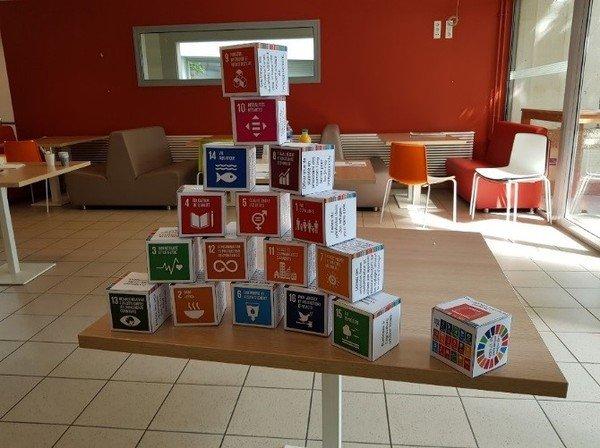 Photographie de cubes en carton entassés avec des inscriptions d'objectifs de développement durable
