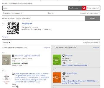 Copie d'écran du catalogue public de la Bpi