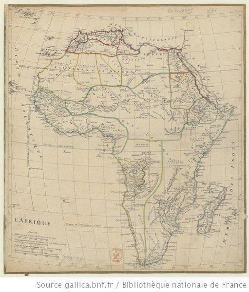 Carte de l'Afrique, 1750