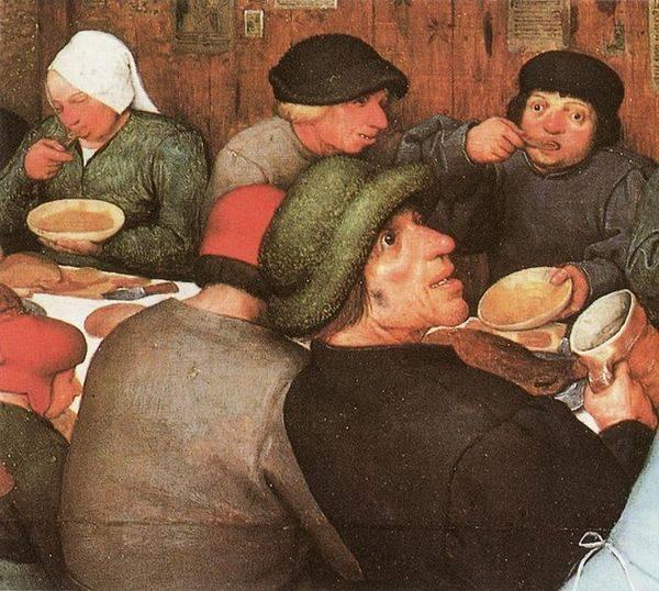 Détail du tableau de P. Brueghel : Repas de noce (1568)