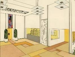 dessin au trait et en couleur du hall