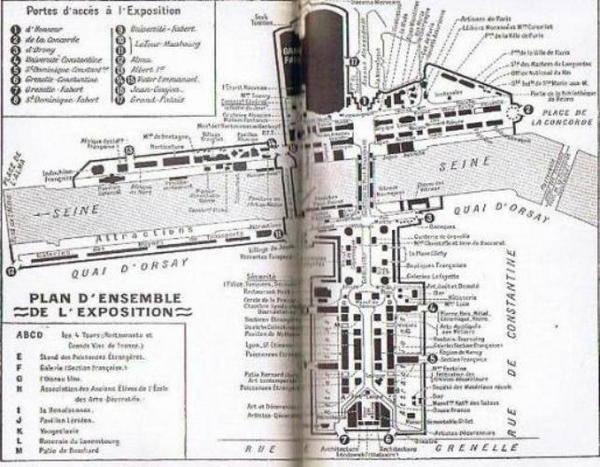 Plan de l'exposition internationale 1925