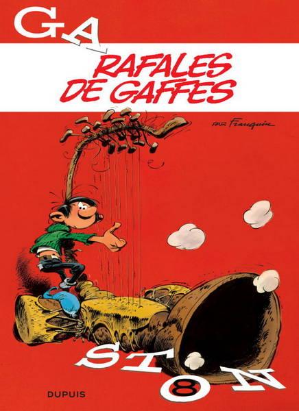 couverture de l'album de Gaston Lagaffe, Rafales de gaffes, avec un gaffophone
