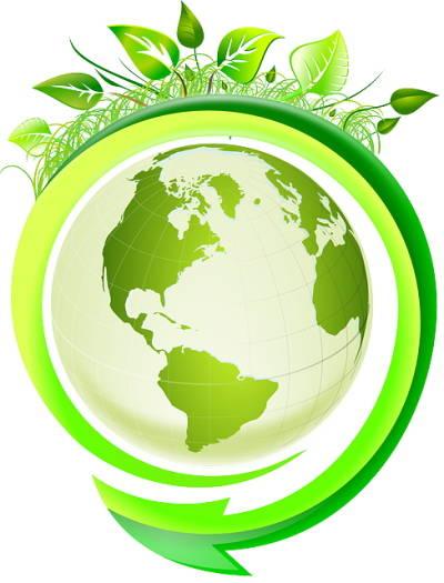 Schéma d'un globe terrestre entouré de feuilles