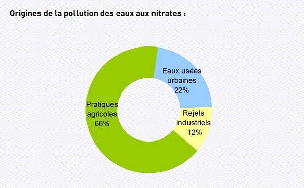 Pollution à 66% par les pratiques agricoles, 22% les eaux usées et 12% de rejets industriels