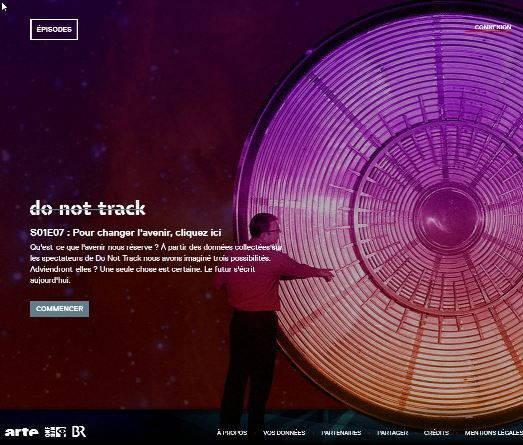 écrand'accueil du webdoc Do not track