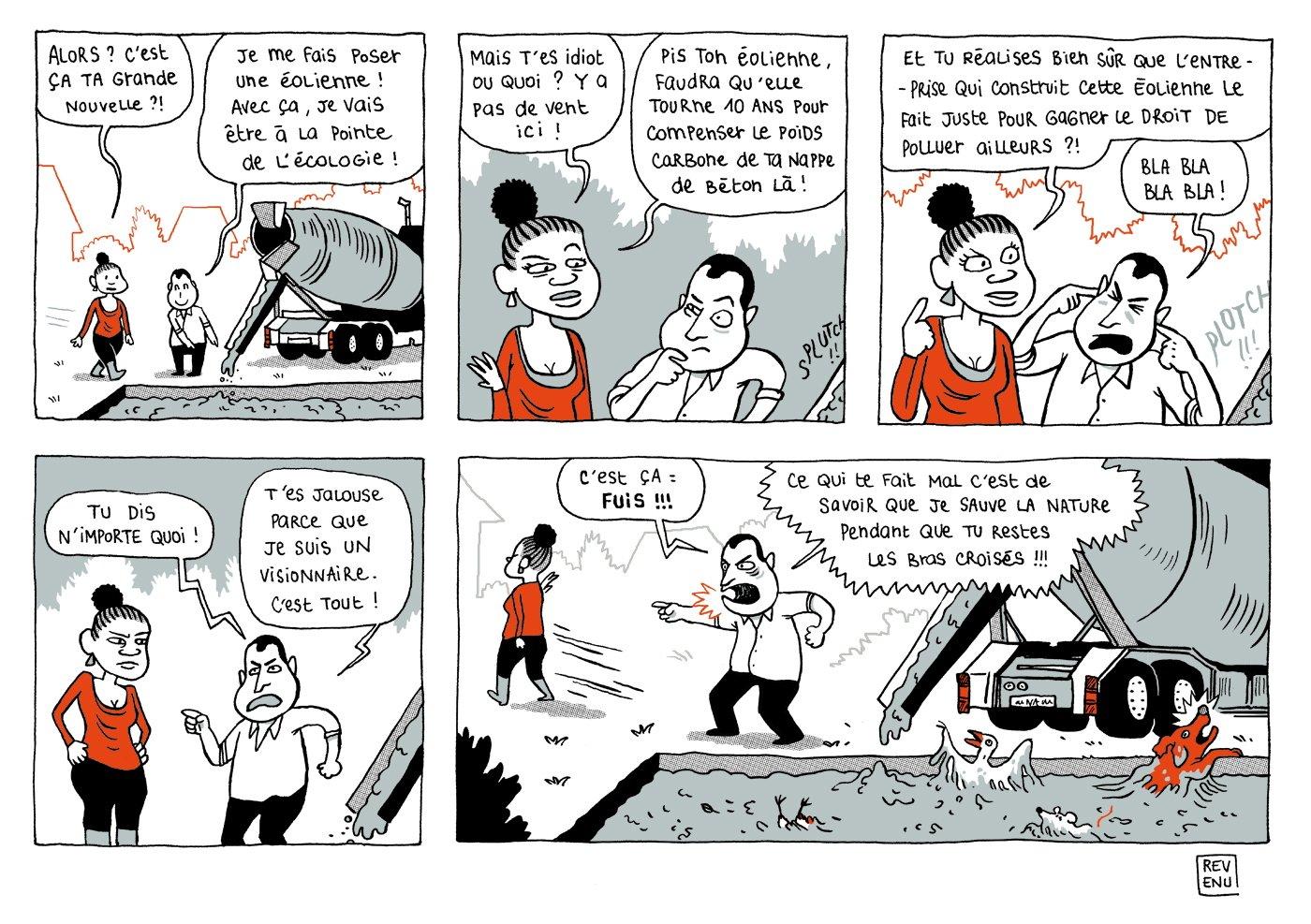Bande dessinée pointant la contradiction des éoliennes qui sont aussi source de pollution