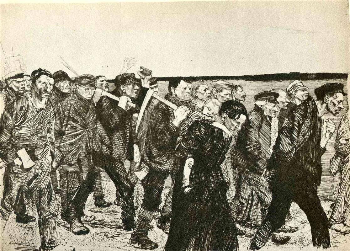 Cortège des tisserands, par Käthe Kollwitz (1892)