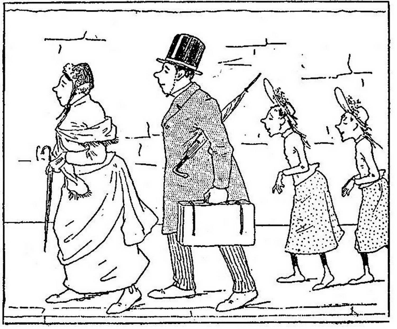 la famille Fenouillard à la queue leu leu, le père , la mère et les deux filles