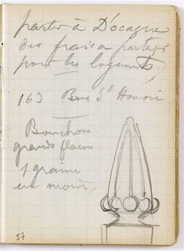 Croquis d'un bouchon par Lalique