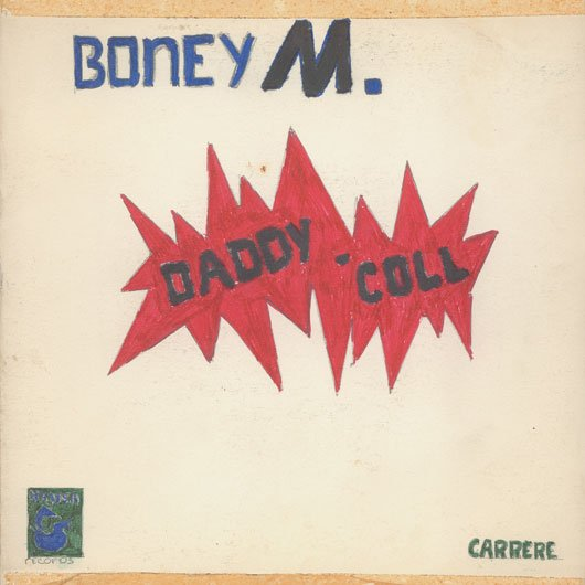 Couverture « Daddy Cool » de Boney M., dessinée à la main par un enfant.