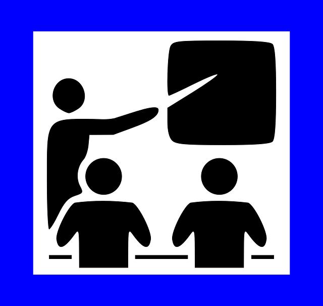 Pictogramme représentant un professeur devant ses élèves