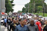 Photo d'une manifestation à Ferguson après la mort M. Brown