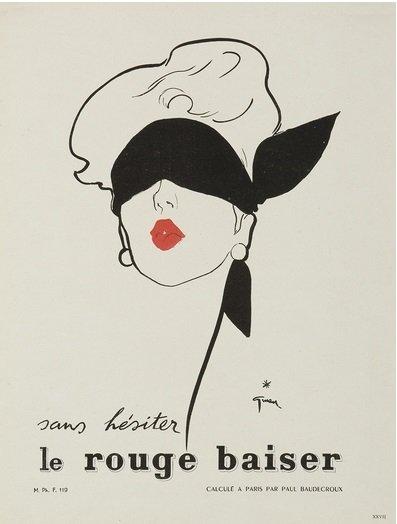 Publicité d'un rouge à lèvre Dior par René Gruau
