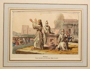 Estampe montrant un autel du feu et 2 prêtres zoroastriens