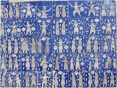 Mythologie perse sur des carreaux décorés
