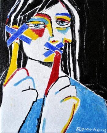 tableau de Nancy Rouke, femme pointant sa bouche, barrée d'une croix