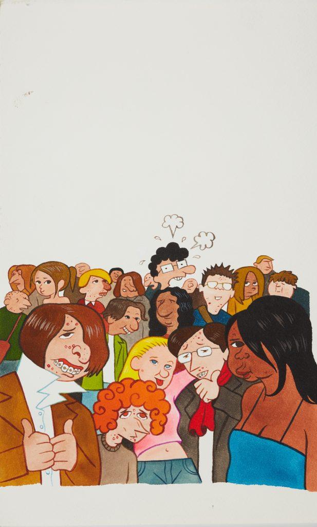 Le personnage de Riad Sattouf adulte perdu dans une foule de jeunes