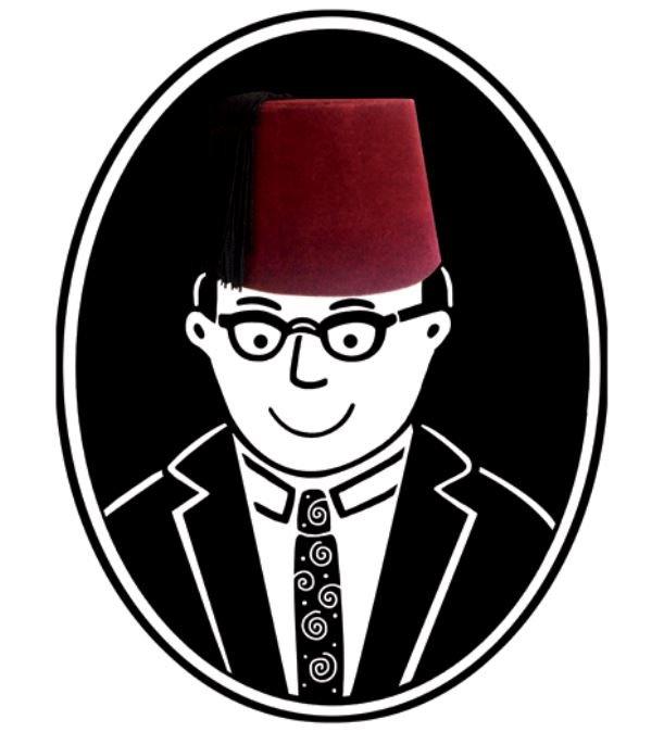 Une photographie de chapeau rouge sur une tête d'homme en noir et blanc dessinée par Zeina Abirached