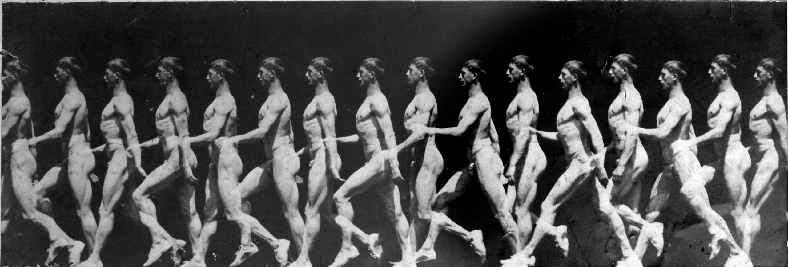 Chronophotographie d'un homme qui marche