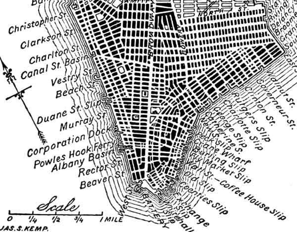 Sur le le Commissioners' plan, le quadrillage des rues est beaucoup plus dense et régulier.